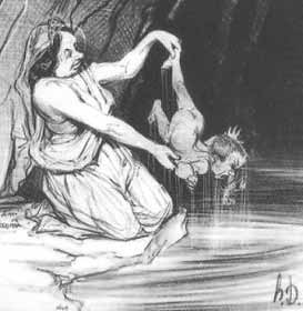 Thetis dipping Achilles into the River Styx to render his body impervious to harm.